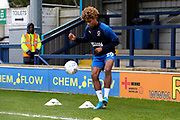 AFC Wimbledon midfielder Ossama Ashley (20) warming up during the EFL Sky Bet League 1 match between AFC Wimbledon and Southend United at the Cherry Red Records Stadium, Kingston, England on 1 January 2020.