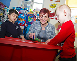 Pictured: Angela Constance, Communities Secretary joined Aarar Bajpal (blue top) and Callam Buchan (red top) at the sand pit<br /> Today Communities Secretary  Angela Constance visited Dr Bells family centre, where she met staff and volunteers ahead of the first Tackling Child Poverty Delivery Plan being published.<br /> <br /> <br /> Ger Harley | EEm 29 March 2018