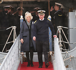 The Prince of Wales and Duchess of Cornwall leave HMS Illustrious in Portsmouth, United Kingdom, Wednesday, 26th February 2014. Picture by Stephen Lock / i-Images