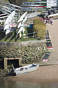 Chiswick, London, Great Britain.<br /> Crew relaxing before the start of the 2016 Schools Head of the River Race, Reverse Championship Course Mortlake to Putney. River Thames.<br /> <br /> Thursday  17/03/2016<br /> <br /> [Mandatory Credit: Peter SPURRIER;Intersport images]