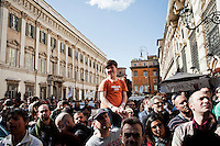ROME, ITALY - 21 APRIL 2013: Supporters of the Five-Star Movement gather in Piazza Santi Apostoli for a rally the day after the re-election of President Giorgio Napolitano,  in Rome, Italy, on April 21, 2013.<br /> <br /> Italy's lawmakers re-elected 87-year-old President Giorgio Napolitano on Saturday in a bid to break the country's political gridlock, as protestors outside parliament protested agains the result. Giorgio Napolitano won with a  majority of 738 ballots out of 1,007 possible votes, ahead of leftist academic Stefano Rodota, backed by the the anti-establishment Five Star Movement, who scored 217.