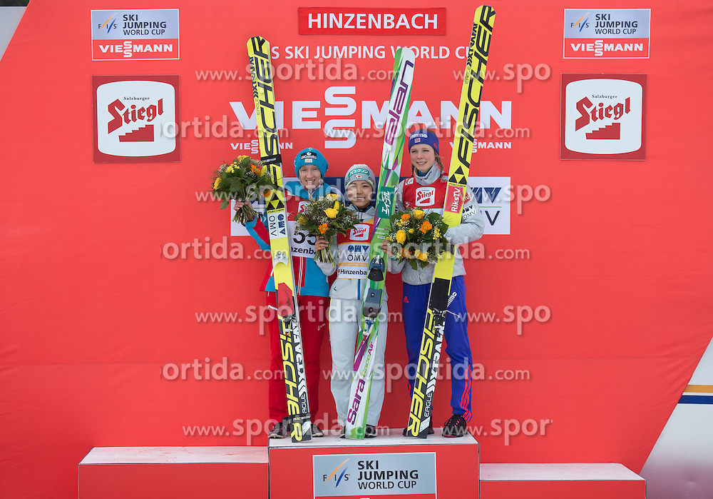 06.02.2016, Energie AG Skisprung Arena, Hinzenbach, AUT, FIS Weltcup Ski Sprung, Hinzenbach, Damen, Bewerb, im Bild v.l. 2. Platz Daniela Iraschko-Stolz (AUT), Siegerin Sara Takanashi (JPN), 3. Platz Maren Lundby (NOR) // during Ladies Skijumping Competition of FIS Skijumping World Cup at the Energie AG Skisprung Arena, Hinzenbach, Austria on 2016/02/06. EXPA Pictures © 2016, PhotoCredit: EXPA/ Reinhard Eisenbauer