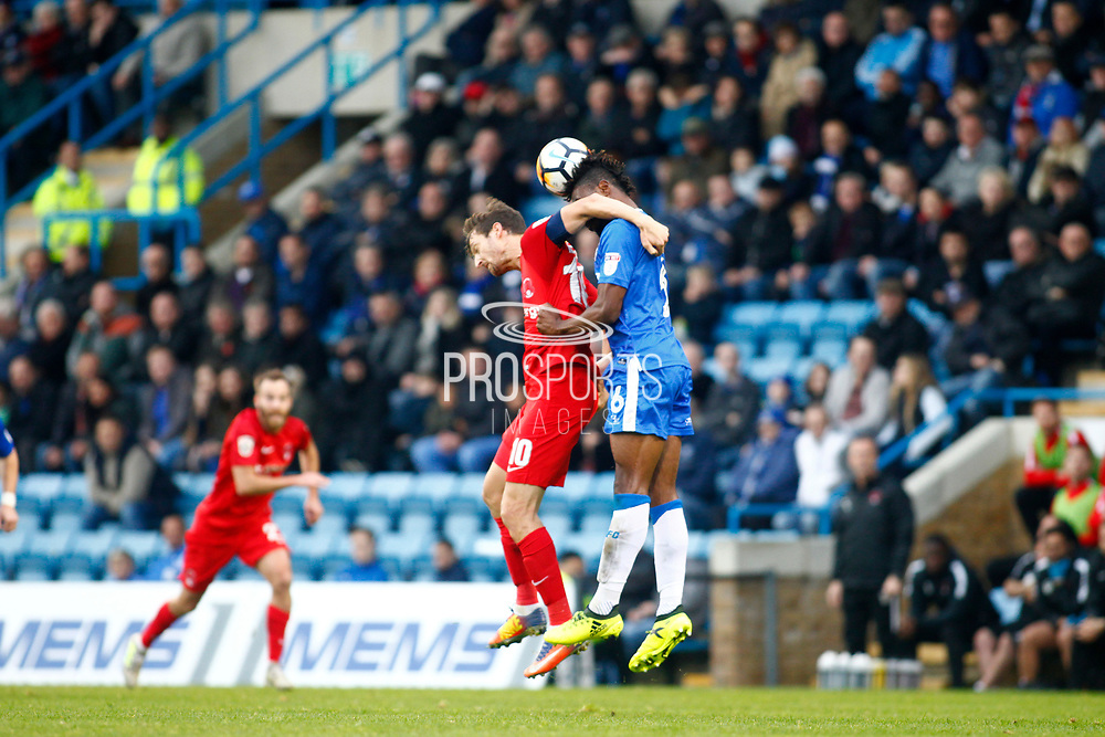 Leyton Orient's Savid Mooney and Gillingham's Gabriel Zakuani during the The FA Cup match between Gillingham and Leyton Orient at the MEMS Priestfield Stadium, Gillingham, England on 4 November 2017. Photo by John Marsh.