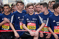 Competitors wait at the start of the U15 boys race. The Virgin Money London Marathon, Sunday 26th April 2015.<br /> <br /> Photo: Jed Leicester for Virgin Money London Marathon<br /> <br /> For more information please contact Penny Dain at pennyd@london-marathon.co.uk