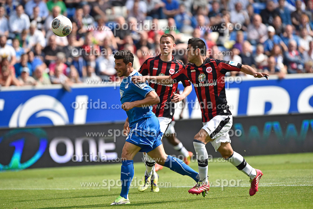 26.04.2014, Rhein Neckar Arena, Sinsheim, GER, 1. FBL, TSG 1899 Hoffenheim vs Eintracht Frankfurt, 32. Runde, im Bild Zweikampf Aktion Kopfball von Kevin Volland TSG 1899 Hoffenheim gegen Carlos Zambrano Eintracht Frankfurt (rechts) // during the German Bundesliga 32th round match between TSG 1899 Hoffenheim and Eintracht Frankfurt at the Rhein Neckar Arena in Sinsheim, Germany on 2014/04/26. EXPA Pictures &copy; 2014, PhotoCredit: EXPA/ Eibner-Pressefoto/ Weber<br /> <br /> *****ATTENTION - OUT of GER*****