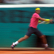 Rafael Nadal, Spain in action during his victory over Teimuraz Gabashvili of Russia  in the second round of the the French Open Tennis Tournament in Paris, France on Wednesday, May 27, 2009. Photo Tim Clayton.