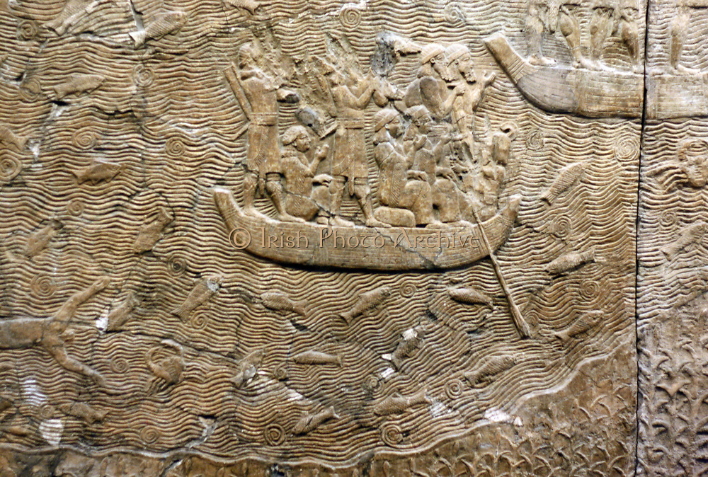 Assyrian carvings showing a campaign in southern Iraq. Dated about 640-620 BC. From the South-West Palace in Nineveh.