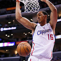 23 November 2013: Los Angeles Clippers center Ryan Hollins (15) goes for the dunk during the Los Angeles Clippers 103-102 victory over the Sacramento Kings at the Staples Center, Los Angeles, California, USA.