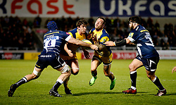 Sam Lewis and Francois Hougaard of Worcester Warriors  are blocked by Bryn Evans of Sale Sharks - Mandatory by-line: Matt McNulty/JMP - 07/04/2017 - RUGBY - AJ Bell Stadium - Sale, England - Sale Sharks v Worcester Warriors - Aviva Premiership