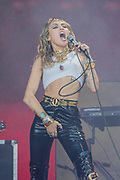Pilton, Somerset, UK. 30th June 2019. Miley Cyrus plays the Pyramid Stage to a small, reflective but generally appreciative crowd - The 2019 Glastonbury Festival, Worthy Farm, Glastonbury.