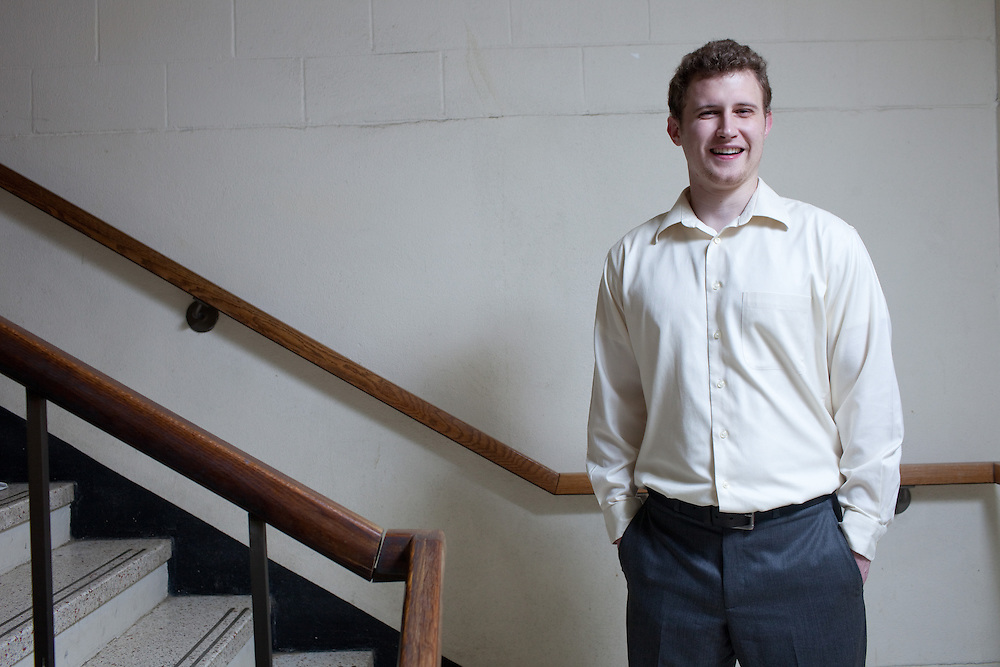 Jacob Robertson poses for a portrait at Ohio University in Athens, Ohio on Thursday, April 11, 2013. Photo by Chris Franz