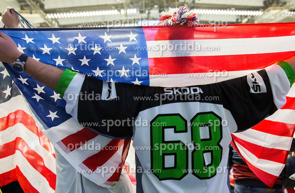 Fans of USA celebrate after winning during Ice Hockey match between Russia and USA at Day 4 in Group B of 2015 IIHF World Championship, on May 4, 2015 in CEZ Arena, Ostrava, Czech Republic. Photo by Vid Ponikvar / Sportida