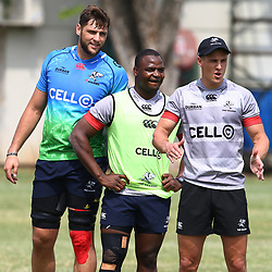 Ruan Botha with Chiliboy Ralepelle and Louis Schreuder during The Cell C Sharks training Road to the Currie Cup final at Growthpoint Kings Park in Durban, South Africa. 23rd October 2017 (Photo by Steve Haag)