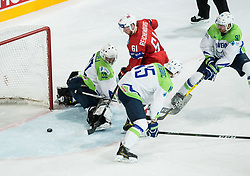 Aleksander Reichenberg of Norway scoring fourth goal for Norway against Gasper Kroselj of Slovenia and Blaz Gregorc of Slovenia during the 2017 IIHF Men's World Championship group B Ice hockey match between National Teams of Slovenia and Norway, on May 9, 2017 in Accorhotels Arena in Paris, France. Photo by Vid Ponikvar / Sportida