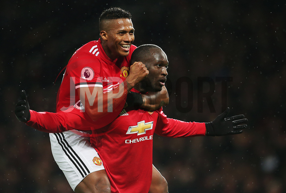Romelu Lukaku of Manchester United celebrates after scoring his sides fourth goal with Antonio Valencia - Mandatory by-line: Matt McNulty/JMP - 18/11/2017 - FOOTBALL - Old Trafford - Manchester, England - Manchester United v Newcastle United - Premier League