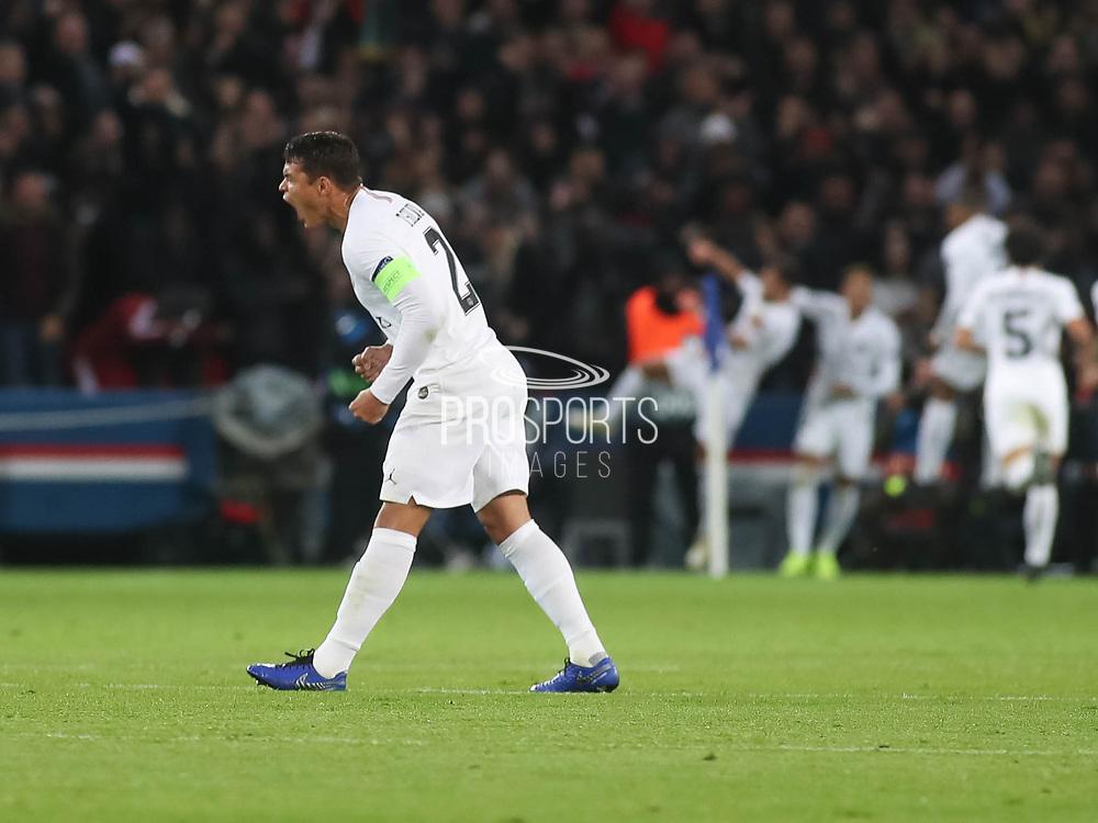 Thiago Silva of Paris Saint-Germain celebrates during the Champions League group stage match between Paris Saint-Germain and Liverpool at Parc des Princes, Paris, France on 28 November 2018.