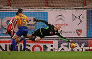 Morecambe goalkeeper Barry Roche(1) fails to prevent the winning goal scored by Mansfield Town's Malvind Benning(3) (not pictured) during the EFL Sky Bet League 2 match between Morecambe and Mansfield Town at the Globe Arena, Morecambe, England on 27 January 2018. Photo by Paul Thompson.