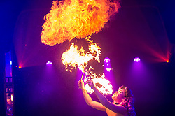 "© Licensed to London News Pictures. 24/04/2019. LONDON, UK. Kitty Bang Bang (fire breathing bearded lady) performs at the preview of Bernie Dieter's ""Little Death Club"" an eclectic performance show taking place at the Underbelly Festival on the Southbank until 23 June 2019.  Photo credit: Stephen Chung/LNP"