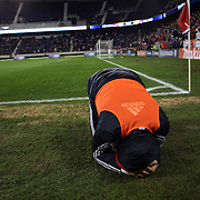 Bill Gaudette, Red Bulls reserve goalkeeper reacts to a late goal to eliminate his side during the New York Red Bulls V D.C. United Major League Soccer, Eastern Conference Semi Final 2nd Leg match at Red Bull Arena, Harrison. New Jersey. USA. 8th November 2012. Photo Tim Clayton