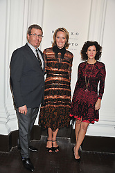 Left to right, MARC GLIMCHER, ANDREA GLIMCHER and MOLLIE DENT-BROCKLEHURST at a party to celebrate the launch of the new gallery Pace at 6 Burlington Gardens, London on 3rd October 2012.