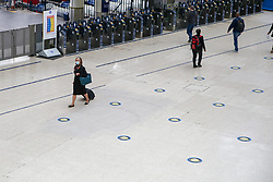© Licensed to London News Pictures. 05/06/2020. London, UK. A quiet Waterloo Station concourse on a Friday afternoon due to COVID-19 lockdown. The government has ordered that commuters will have to wear face coverings on public transport in England from 15 June. Photo credit: Dinendra Haria/LNP