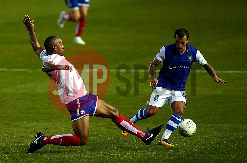 Chris O'Grady of Chesterfield tackles Ross Wallace of Sheffield Wednesday - Mandatory by-line: Robbie Stephenson/JMP - 08/08/2017 - FOOTBALL - Hillsborough - Sheffield, England - Sheffield Wednesday v Chesterfield - Carabao Cup