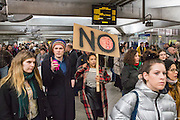 Demonstrators pass through Westminster station to gather outside Downing Street on Monday the 30th of January to protest against the recent announcement by American President Donald Trump to ban people from seven Muslim-majority countries from entering the US. Downing Street, London. 30th January 2017<br /> (photo by Andrew Aitchison / In pictures via Getty Images)