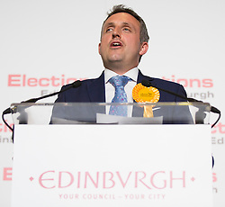 Scottish Parliament Election 2016 Royal Highland Centre Ingliston Edinburgh 05 May 2016; Alex Cole-Hamilton (Scottish Liberal Democrats) makes his acceptance speech after winning Edinburgh Western during the Scottish Parliament Election 2016, Royal Highland Centre, Ingliston Edinburgh.<br /> <br /> (c) Chris McCluskie | Edinburgh Elite media
