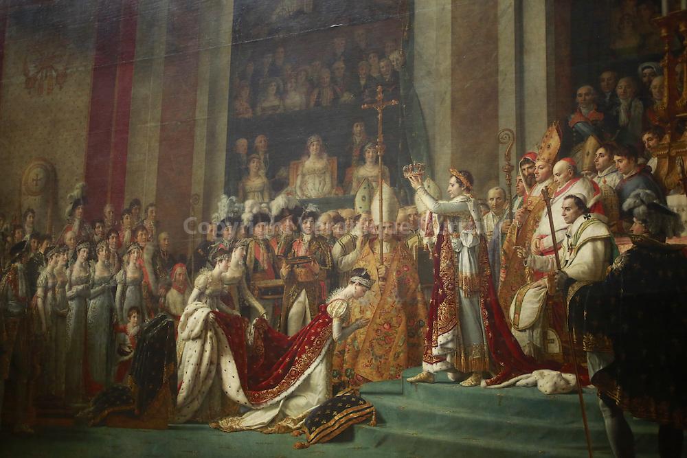 Le Sacre de Napoléon ( détail ) . Tableau peint entre 1806 et 1807 par Jacques-Louis David, peintre officiel de Napoléon Iᵉʳ, qui représente une des cérémonies du couronnement. Musee du Louvre, Paris, France