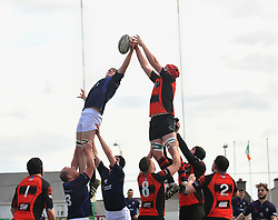 Easter Rising ......<br /> Westport's Eddie Dunning and Monivea's Vinny Lally contest the lineout during the junior cup final.<br /> Pic Conor McKeown