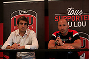 Pierre Mignoni coach of LOU and Yann Roubert Président of LOU during the Olympique Lyonnais presentation press conference, French Championship L1 2018/2019, at Lyon, France, on June 30, 2018 - Photo Romain Biard / Isport / ProSportsImages / DPPI
