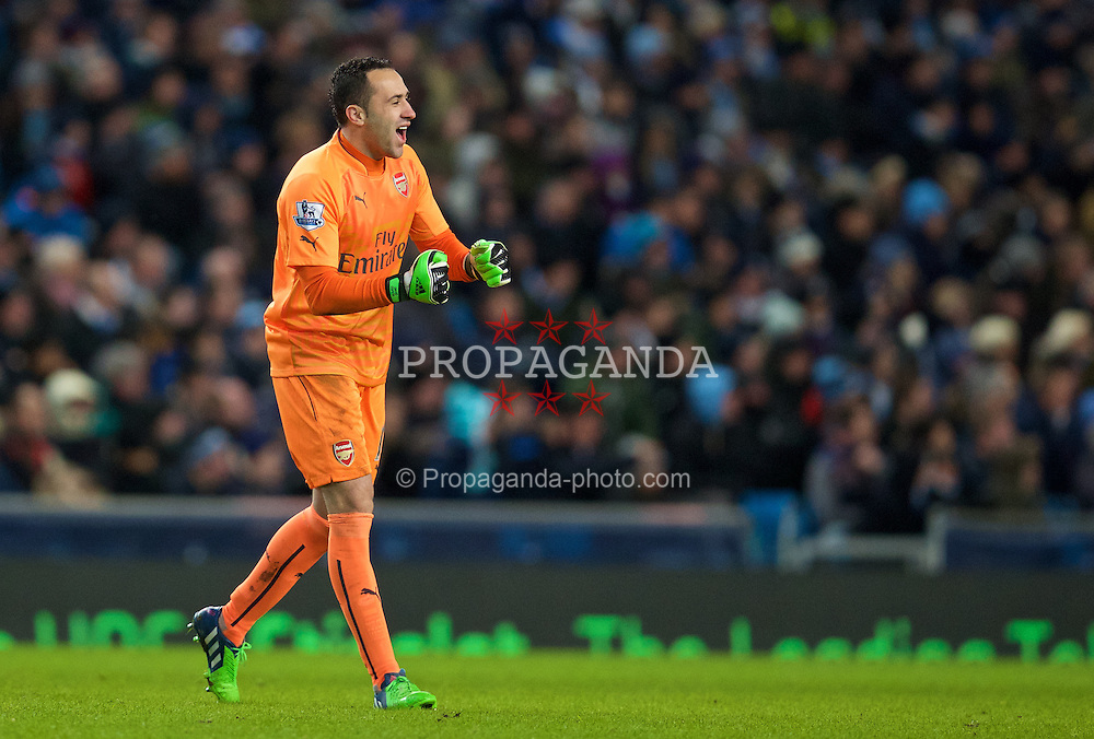 MANCHESTER, ENGLAND - Sunday, January 18, 2015: Arsenal's goalkeeper David Ospina celebrates his side's second goal against Manchester City during the Premier League match at the City of Manchester Stadium. (Pic by David Rawcliffe/Propaganda)