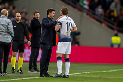 November 6, 2018 - London, Greater London, England - Mauricio Pochettino manager of Tottenham Hotspur talks to Harry Kane of Tottenham Hotspur during the UEFA Champions League Group Stage match between Tottenham Hotspur and PSV Eindhoven at Wembley Stadium, London, England on 6 November 2018. Photo by Salvio Calabrese. (Credit Image: © AFP7 via ZUMA Wire)