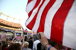 Waving American Flag at the Democratic National Convention, Invesco Field at Mile High Stadium, Denver, Colorado, August 28, 2008.