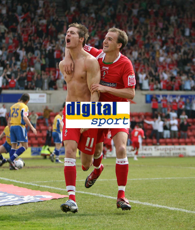 Photo: Rich Eaton.<br /> <br /> Swindon Town v Mansfield Town. Coca Cola League 2. 21/04/2007. Barry Corr left celebrates scoring the opening goal of the game with Andy Nicholas right for Swindon