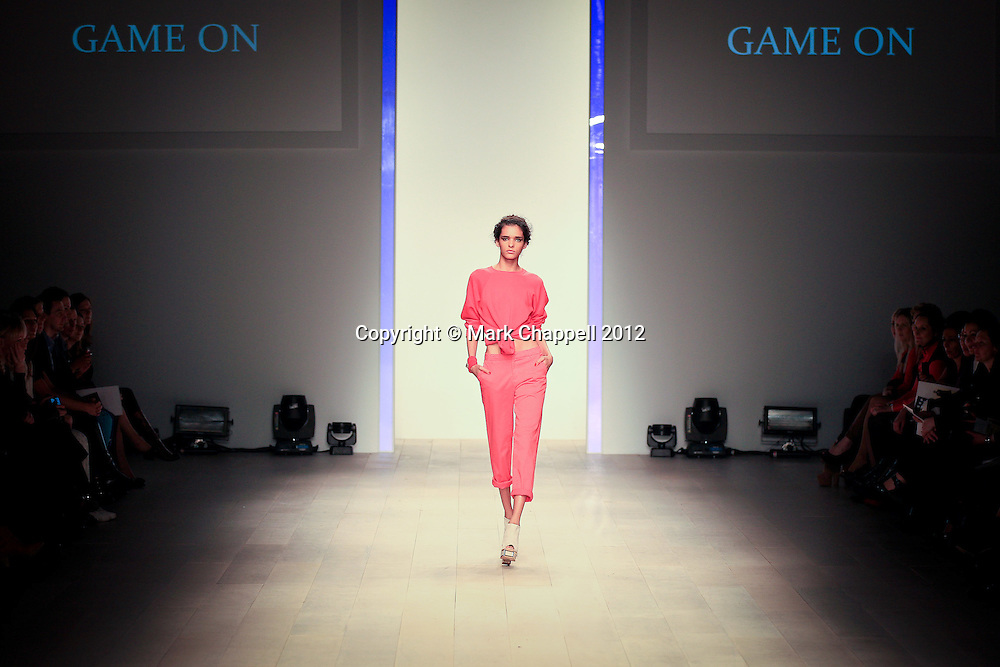 LONDON, UNITED KINGDOM. February 23 2012. The Game On Collection on display at London Fashion Weekend, sponsored by Vodaphone and Canon. Held at Sommerset House, London..Photo Credit: Mark Chappell.© Mark Chappell 2012. All Rights Reserved. See instructions.