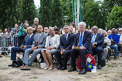 June 22, 2017 - London, London, UK - London, UK. Defence Secretary Michael Fallon (R) and Mayor of London Sadiq Khan (second from right) attend the inauguration of the African Caribbean War Memorial in Windrush Square in Brixton, south London, on Windrush Day. The memorial remembers the many African and Caribbean servicemen that fought in the Second World War. (Credit Image: © Rob Pinney/London News Pictures via ZUMA Wire)