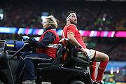 Wales Scott Baldwin going off injured during the Rugby World Cup Quarter Final match between South Africa and Wales at Twickenham, Richmond, United Kingdom on 17 October 2015. Photo by Matthew Redman.