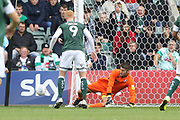 Scott Flinders makes a important save  during the EFL Sky Bet League 2 match between Plymouth Argyle and Cheltenham Town at Home Park, Plymouth, England on 21 September 2019.