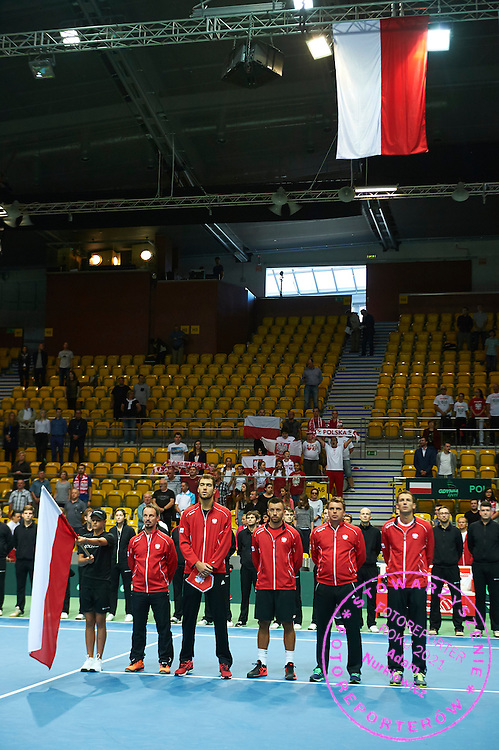 (R-L) Lukasz Kubot and Marcin Matkowski and Michal Przysiezny and Jerzy Janowicz and Radoslaw Szymanik - captain national team all from Poland while opening ceremony during Davis Cup Tie World Group Play-off Poland v Slovakia at Gdynia Arena Hall in Gdynia, Poland.<br /> <br /> Poland, Gdynia, September 18, 2015<br /> <br /> Picture also available in RAW (NEF) or TIFF format on special request.<br /> <br /> For editorial use only. Any commercial or promotional use requires permission.<br /> <br /> Adam Nurkiewicz declares that he has no rights to the image of people at the photographs of his authorship.<br /> <br /> Mandatory credit:<br /> Photo by &copy; Adam Nurkiewicz / Mediasport