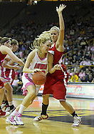 February 16 2011: Iowa Hawkeyes forward Kelsey Cermak (22) tries to get around Wisconsin Badgers forward/center Cassie Rochel (43) during the first half of an NCAA women's college basketball game at Carver-Hawkeye Arena in Iowa City, Iowa on February 16, 2011. Iowa defeated Wisconsin 59-44.