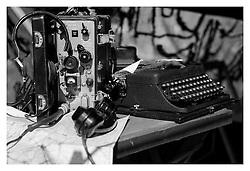 Period Bakerlite German Radio equipment map and Typewriter displayed on the Living History camp behind the Allerton Court Hotel Northallerton<br /> <br /> 16 June 2013<br /> Image © Paul David Drabble<br /> www.pauldaviddrabble.co.uk