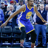 13 February 2017: Golden State Warriors forward Kevin Durant (35) defends during the Denver Nuggets 132-110 victory over the Golden State Warriors, at the Pepsi Center, Denver, Colorado, USA.