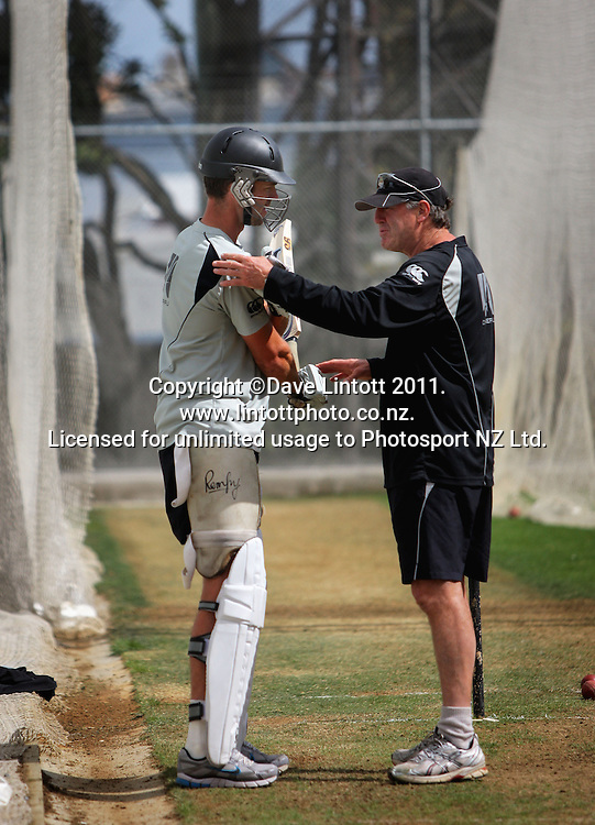 James Franklin gets batting advice from coach John Wright (right). Black Caps cricket training at Allied Prime Basin Reserve, Wellington, New Zealand on Thursday, 13 January 2011. Photo: Dave Lintott / photosport.co.nz