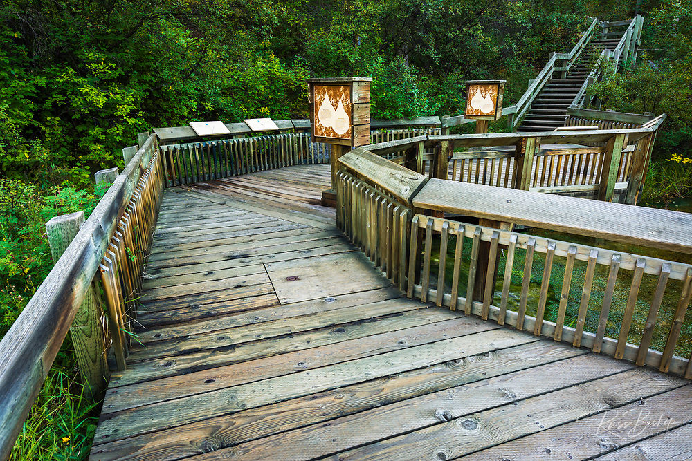 Interpretive boardwalk at Cave and Basin National Historic Site, Banff National Park, Alberta, Canada