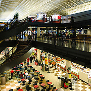 Inside the food hall and ticket concourse level of Union Station in downtown Washington DC on Capitol Hill.