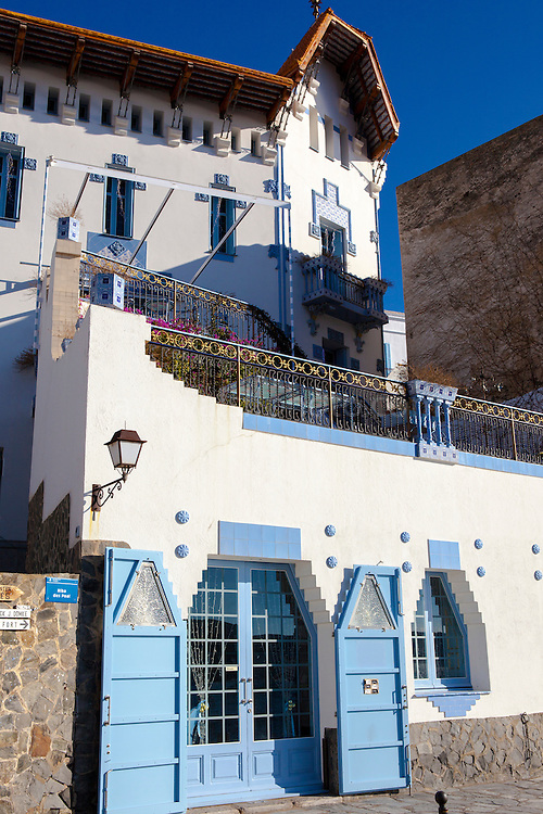 The modernist Blue House, Casa Serinyana or Sa Casa Blaua, in Cadaques, Catalonia, Spain, designed by Salvador Sellés i Baró for Octavius Serinyana in the early 20th century.
