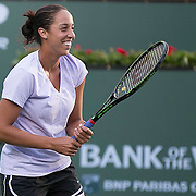 March 7, 2015, Indian Wells, California:<br /> Madison Keys laughs during a practice session at the Indian Wells Tennis Garden in Indian Wells, California Saturday, March 7, 2015.<br /> (Photo by Billie Weiss/BNP Paribas Open)
