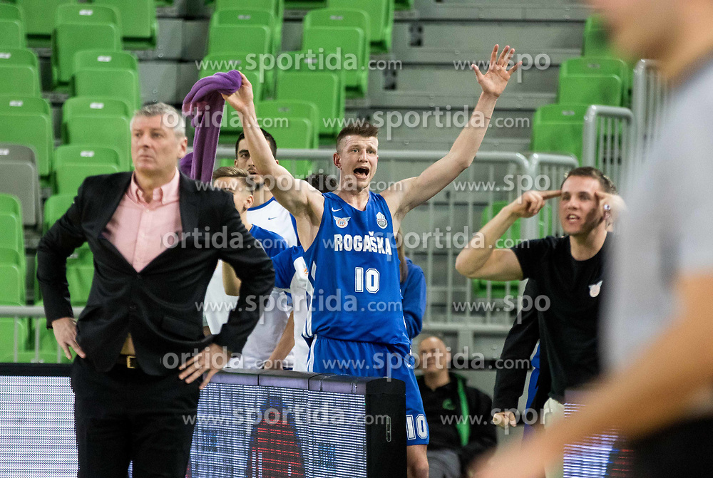 Leon Santelj of KK Rogaska during 2nd leg basketball match between KK Petrol Olimpija and KK Rogaska in quarter final of  Pokal SPAR 2018/19, on January 14, 2019 in Arena Stozice, Ljubljana, Slovenia. Photo by Matic Ritonja / Sportida