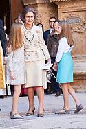 Queen Sofia of Spain, King Felipe VI of Spain, Crown Princess Leonor, Princess Sofia, Queen Letizia of Spain leave the Cathedral of Palma de Mallorca after Easter Mass on April 1, 2018 in Palma de Mallorca, Spain